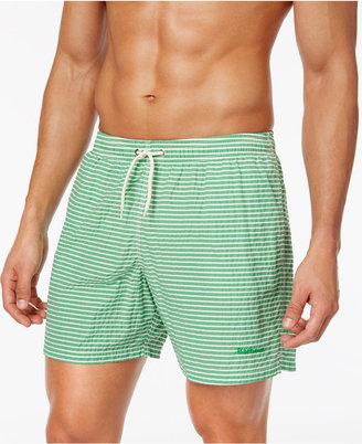 Barbour Men's Milton Slim-Fit Green Stripe Swim Trunks $79 thestylecure.com
