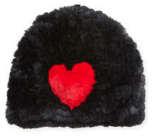 Jocelyn Heart Rabbit Fur Beanie Hat