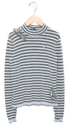 Miss Blumarine Girls' Striped Ruffle-Accented Sweater