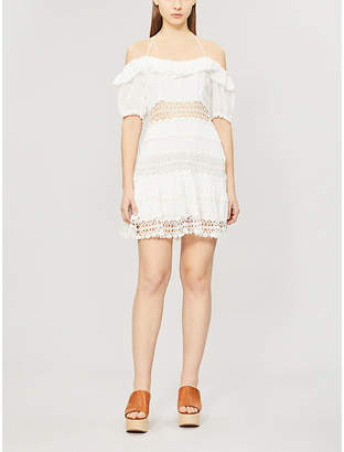 Free People Cruel Intention cold-shoulder lace-panelled mini dress