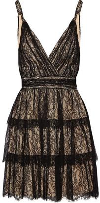 Alice + Olivia Alice Olivia - Olive Tiered Lace Mini Dress - Black $690 thestylecure.com