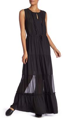 Scotch & Soda Sleeveless Flounce Maxi Dress with Necklace