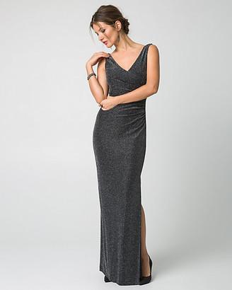 Le Château Metallic Knit V-Neck Gown