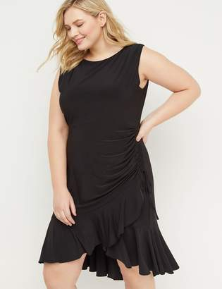 Lane Bryant Ruched Ruffle-Hem Midi Dress