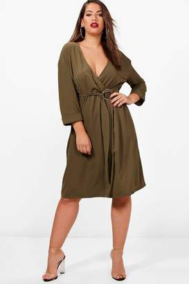 boohoo Plus Ring Belted Wrap Dress