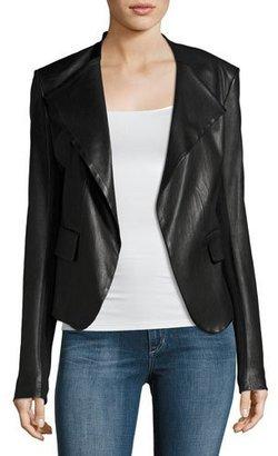 Theory Peplum Jacket Leather Jacket, Black $995 thestylecure.com