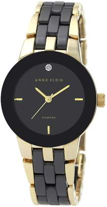 Anne Klein Diamond Accent Dial Goldtone Black Ceramic Watch