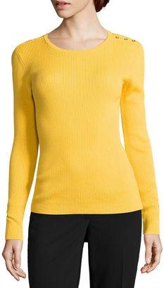 LIZ CLAIBORNE Liz Claiborne Long Sleeve Crew Neck Pullover Sweater $36 thestylecure.com