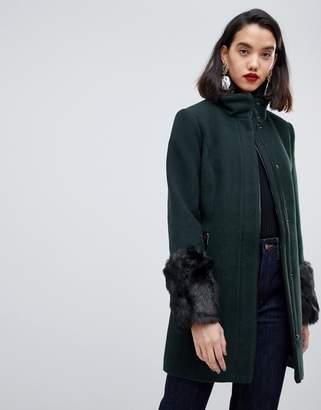 Vero Moda Funnel Neck Faux Fur Cuff Coat