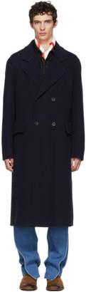 Loewe Navy Long Pleated Check Back Coat