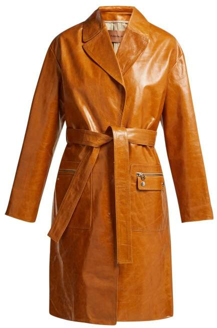 Belted Patent Leather Coat - Womens - Brown