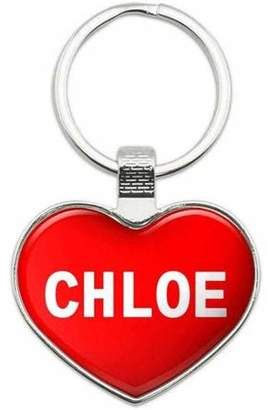 Chloé Generic I Love Name Metal Heart Keychain Key Chain Ring, Multiple Colors Available