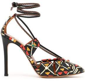 Valentino Lace-up Printed Textured-leather Pumps