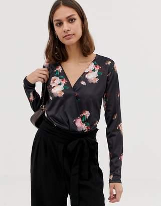 Pieces Kristy floral print wrap bodysuit