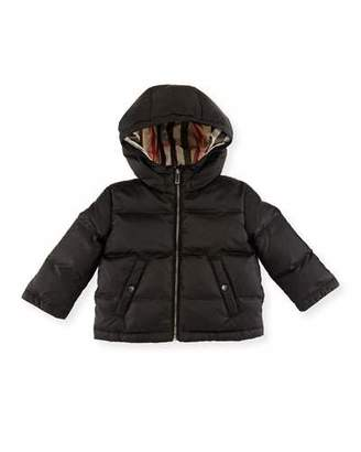 Burberry Rio Hooded Reversible Puffer Jacket, Black, Size 6M-3Y $250 thestylecure.com