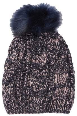 Natasha Accessories Knit Faux Fur Pompom Beanie