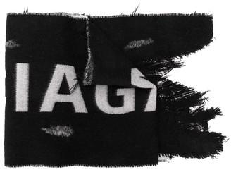 Balenciaga distressed logo scarf