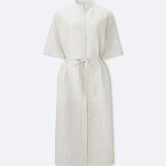 UNIQLO Women's Linen Cotton Striped Shirt Dress $39.90 thestylecure.com