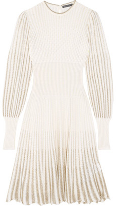 Alexander McQueen - Metallic Crochet-knit Dress - Cream $1,325 thestylecure.com
