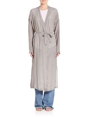 SET Women's Long Printed Silk Jacket