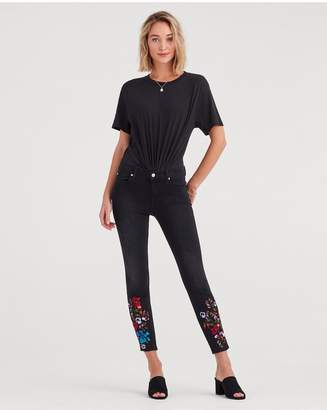 7 For All Mankind The Ankle Skinny With Embroidery In Black Sateen