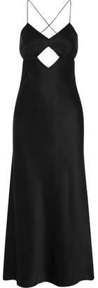 Michelle Mason - Cutout Backless Silk Midi Dress - Black
