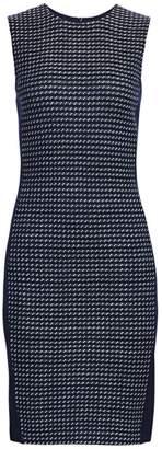 St. John Dotted Tweed Sleeveless Sheath Dress