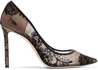 Romy Leather-trimmed Lace Pumps - Black