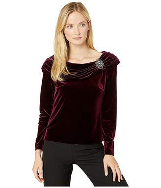 Alex Evenings Velvet Blouse with Ruched Collar