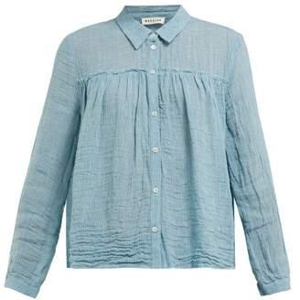 Masscob Crinkled Bohemia Linen Blend Blouse - Womens - Mid Blue