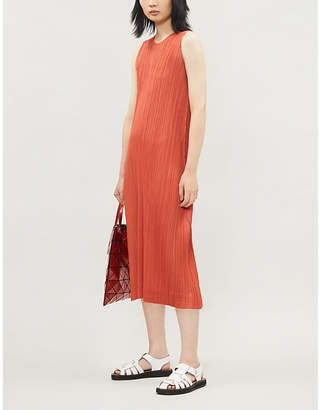 Pleats Please Issey Miyake Sleeveless satin pleated dress