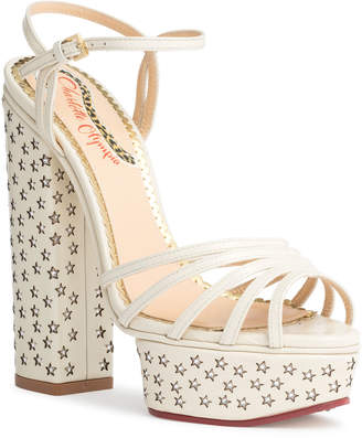 Charlotte Olympia Rising Star white leather sandals
