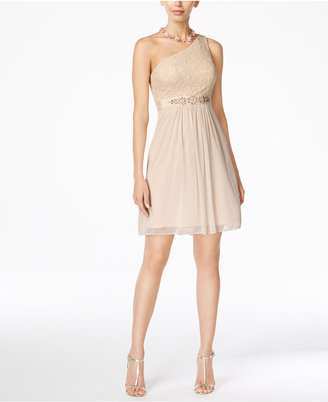 Adrianna Papell One-Shoulder Lace Dress $159 thestylecure.com