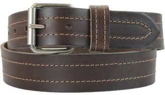 Montauk Leather Club 1-1/2 in. US Steer Hide Leather Double Stitch Men's Belt w/ Antq.Nickel Roller Buckle