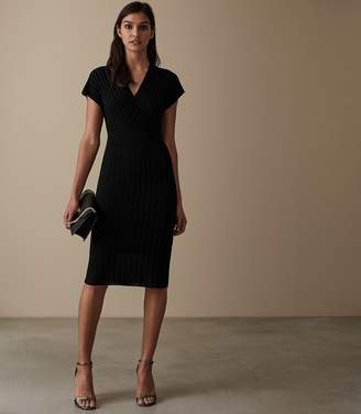 Reiss TALITHA RIBBED KNITTED DRESS Black