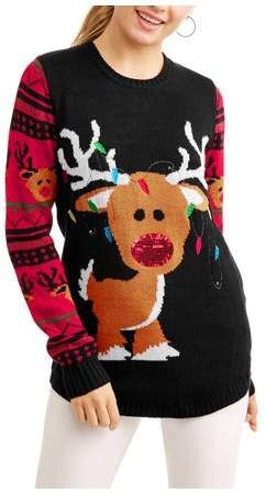 No Boundaries Juniors' Light Up Rudolph Tangled In Christmas Lights Holiday Sweater