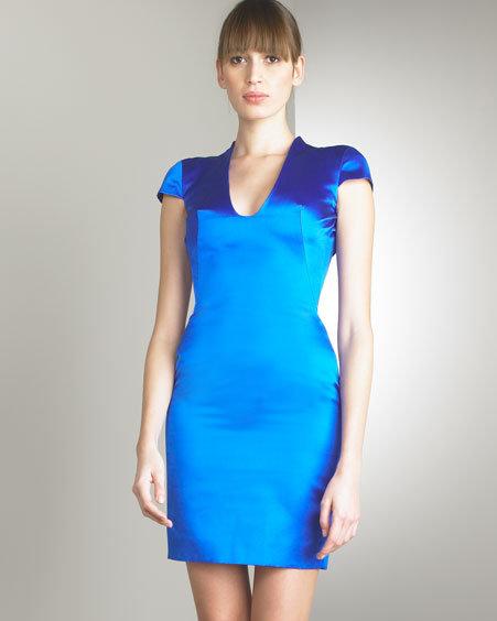 Alexander McQueen Duchesse Silk Cap-Sleeve Dress
