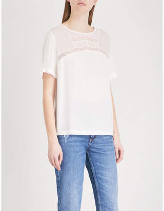Sandro Lace-embroidered crepe top