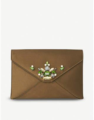 LK Bennett Khaki Green Floral Alena Satin Envelope Clutch