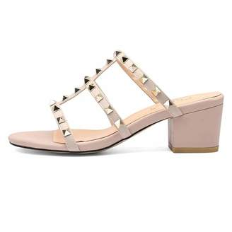 193e144f29a BEIGE Chris-T Womens Studded Block Heel Sandals Gladiator Slip On Slingback  Cut Out Dress