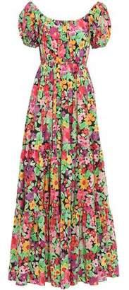 Caroline Constas Bardot Gathered Floral-print Stretch-cotton Poplin Maxi Dress