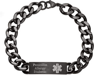 JCPenney FINE JEWELRY Personalized Mens Black IP Stainless Steel Medical ID Bracelet