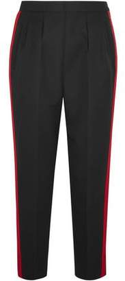 Maison Margiela Grosgrain-Trimmed Wool And Mohair-Blend Gabardine Tapered Pants