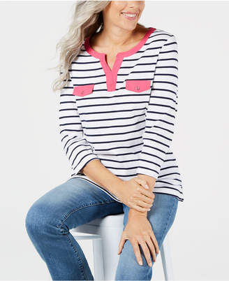 Karen Scott Petite Cotton Striped Split-Neck Top