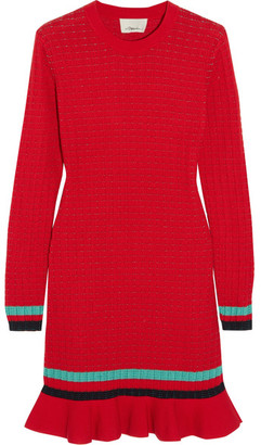 3.1 Phillip Lim - Ribbed-knit Stretch-cotton Mini Dress - Red $450 thestylecure.com