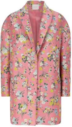 DELPOZO Floral Jacquard Cocoon Coat