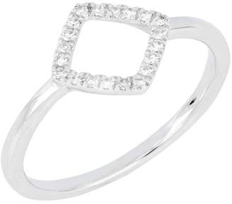 Carriere Sterling Silver Pave Diamond Open Square Stacking Ring - 0.10 ctw