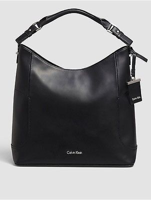 Calvin Klein Calvin Klein Womens Smooth Leather Hobo Black