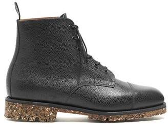 Sanders Black Leather Grain Lace Up Cap Toe Boot