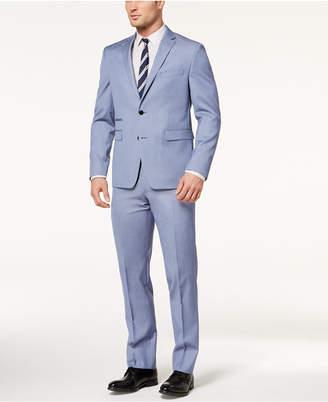 Vince Camuto Men's Slim-Fit Stretch Light Blue Chambray Stripe Suit